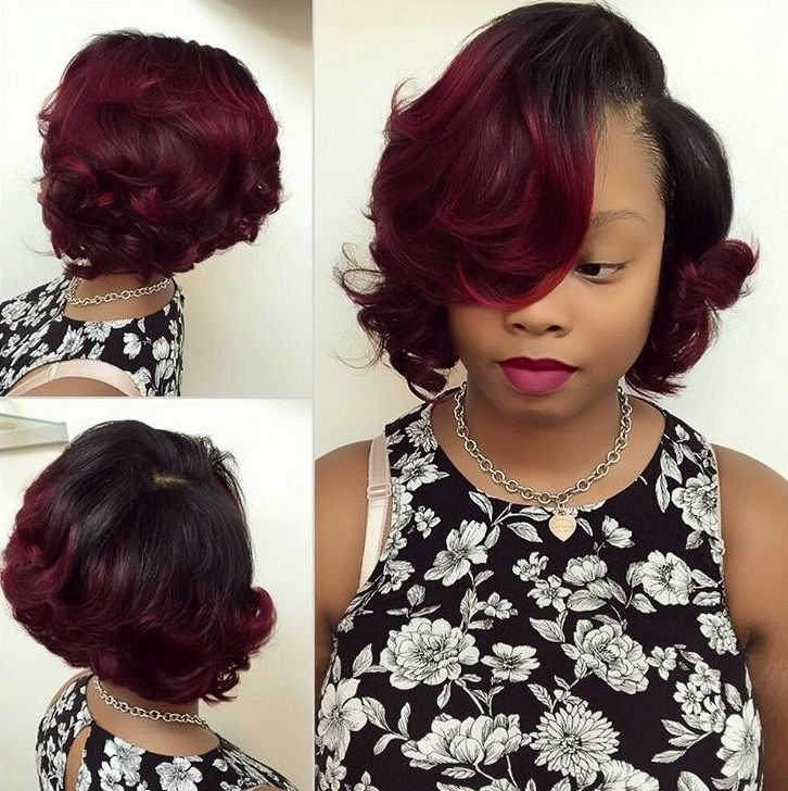 23 black to burgundy ombre bob