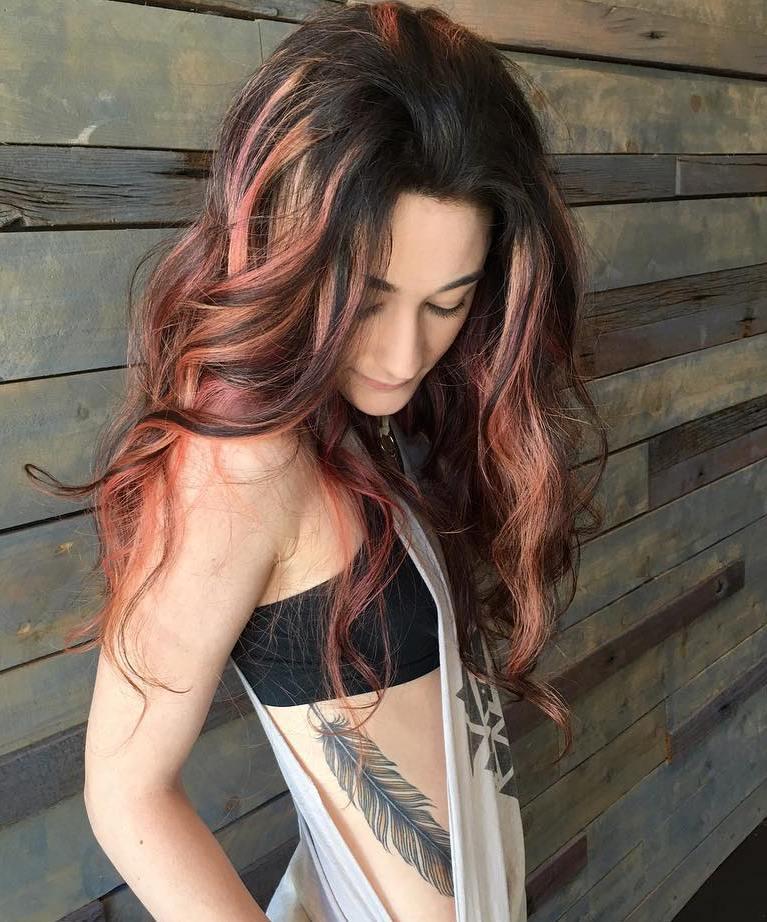 23 dark brown hair with pastel pink balayage