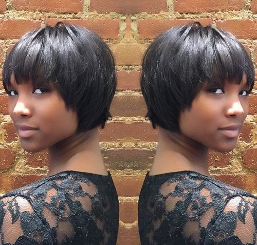 23 layered short black haircut with bangs