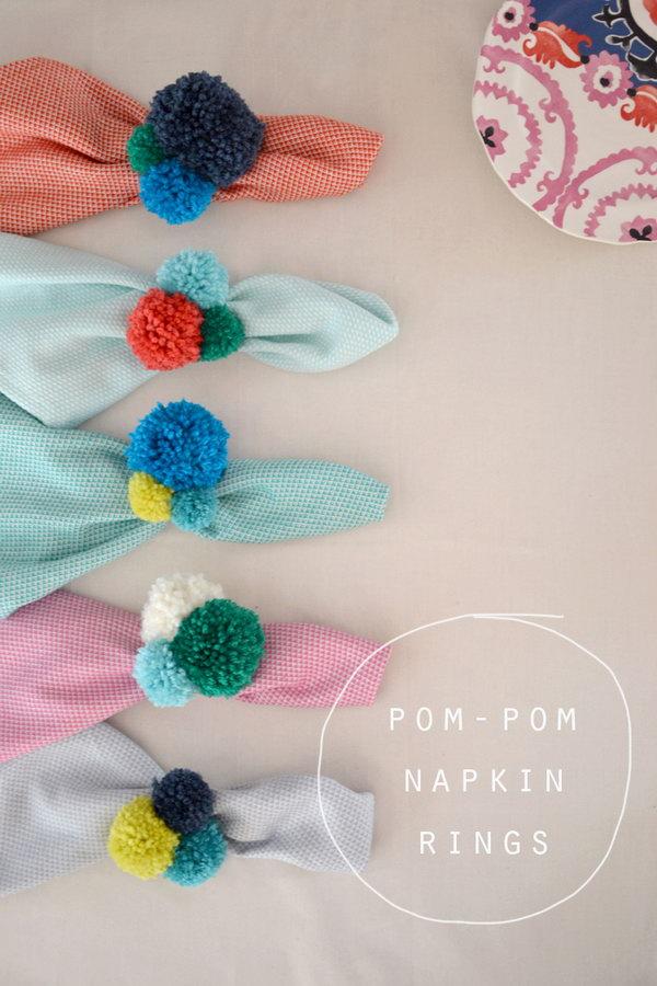 24 DIY Pom-Pom Napkin Rings