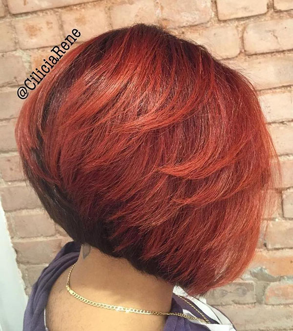 24 angled black and red bob with layers