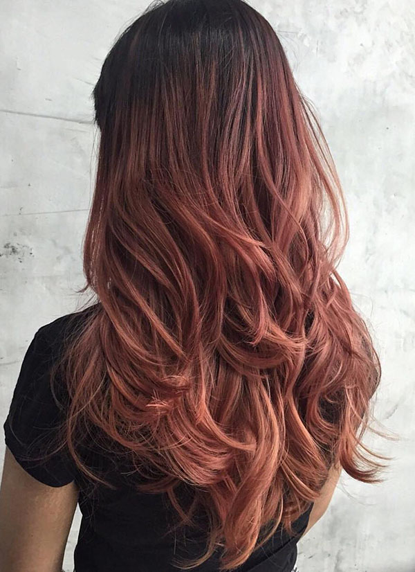 24 rose brown hair with black roots