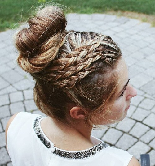 24 triple braid bun prom updo