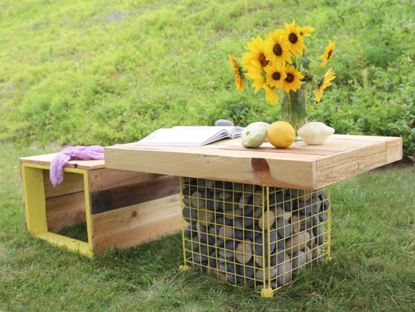 25 DIY Pallet Wood Bench and Gabion Table