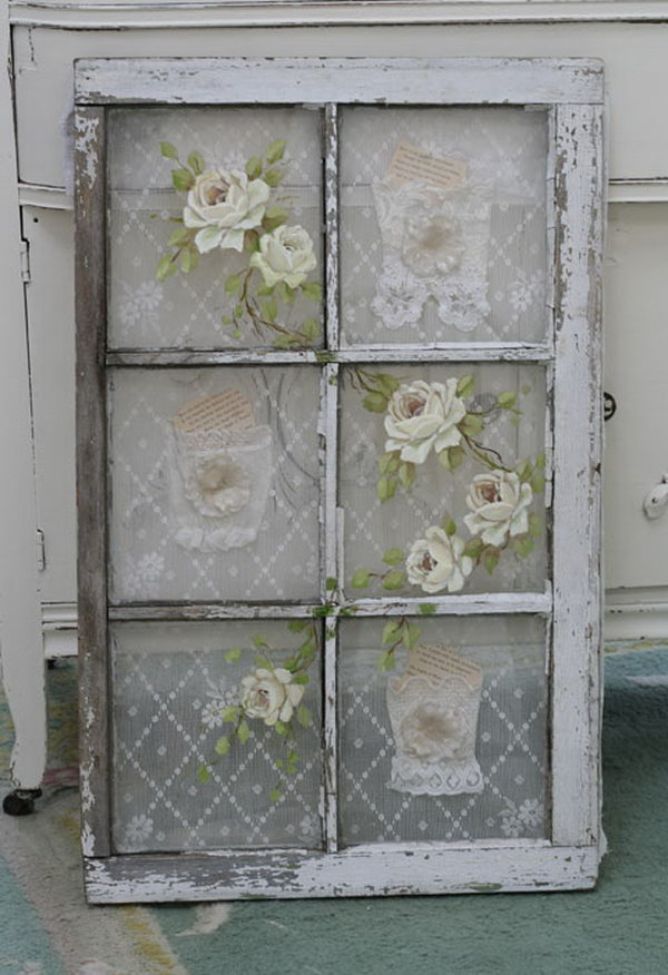 25 Old Window with Vintage Lace Behind the Panes and Roses Painted on the Glass