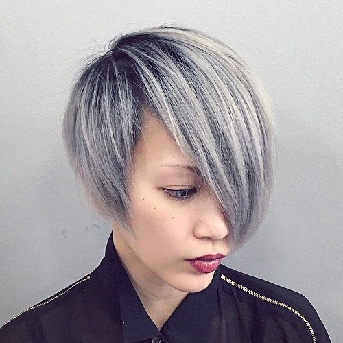 25 ash blonde asymmetrical bob