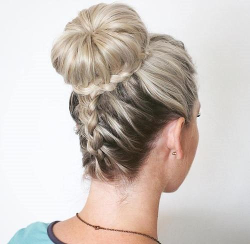 25 bun and braid prom updo