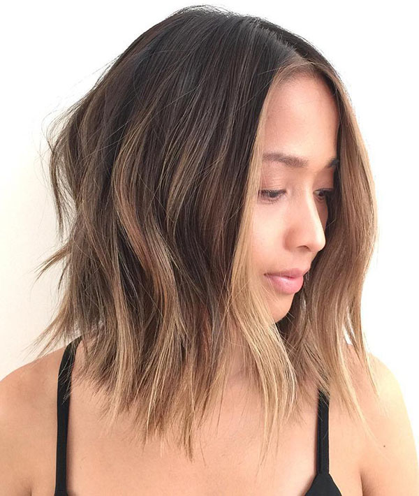 25 shaggy brown balayage lob