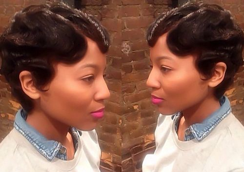 25 short black pixie hairstyle with finger waves