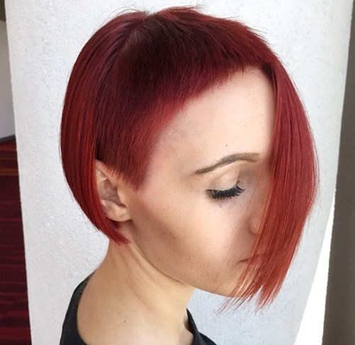 26 asymmetrical red bob with extra short bangs