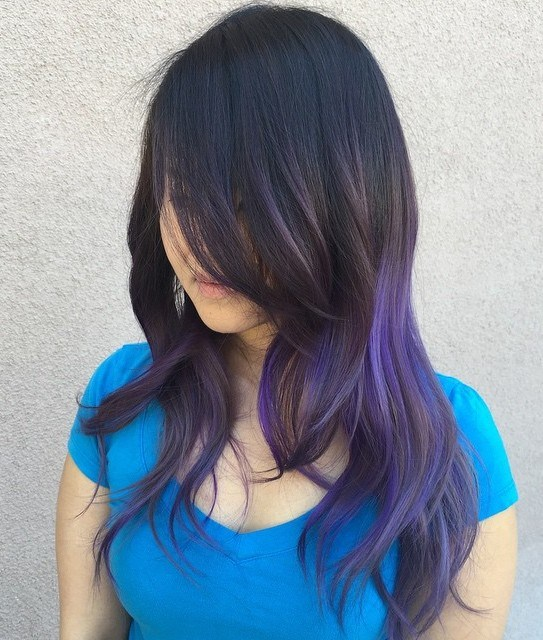 26 black layered hair with purple balayage