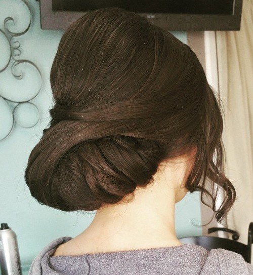 26 low prom updo with a bouffant for long hair