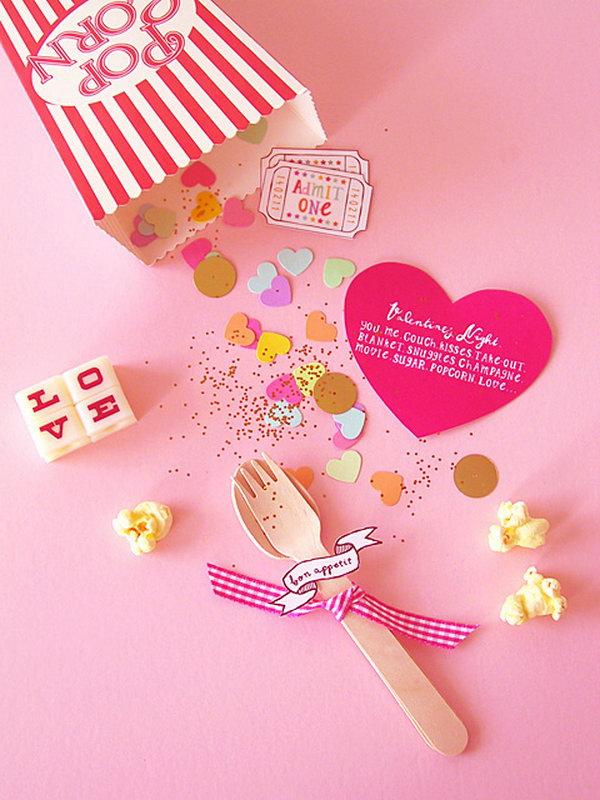 27 DIY Valentine Popcorn Invitation For A Cosy Night