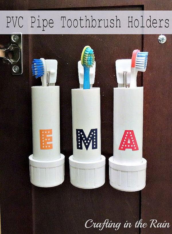 27 PVC Pipe Toothbrush Holders