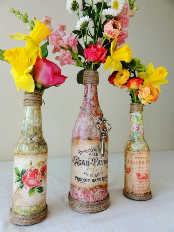 29 Creative Wine Bottle Centerpieces Ideas for Weddings or ...