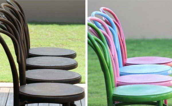 28 Lovely Spray Painted Chairs That Can be Used at Kitchen Table