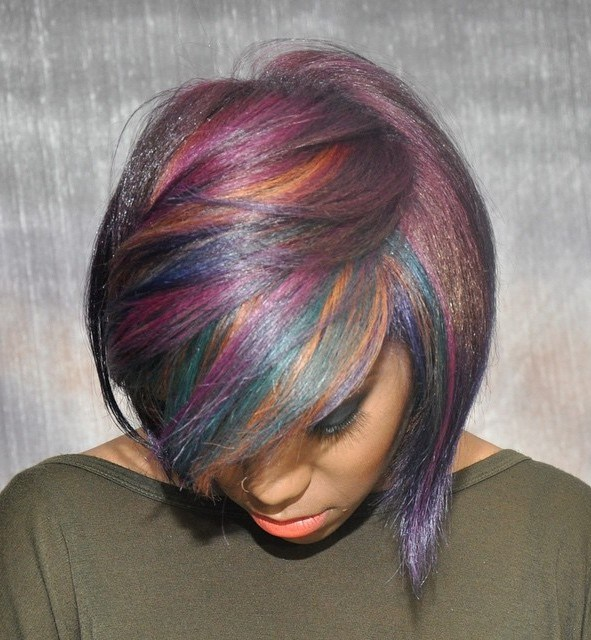 28 black bob with multicolored highlights
