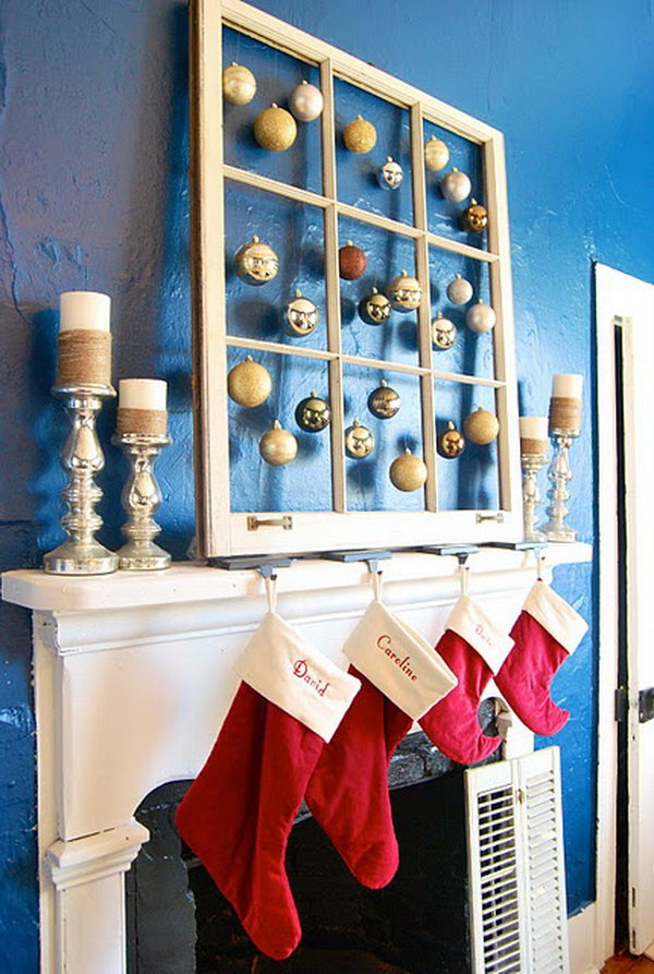 29 Old Window with Hanging Ornaments in Each Pane for Christmas Decor