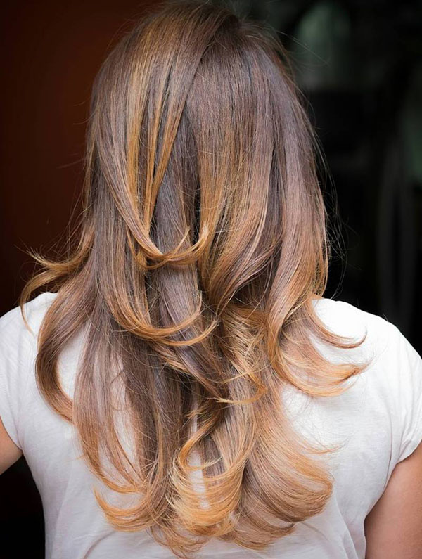 29 brown hair with golden blonde highlights