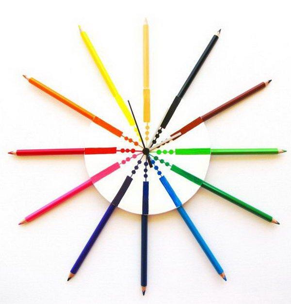 3 Colored Pencil Wall Clock