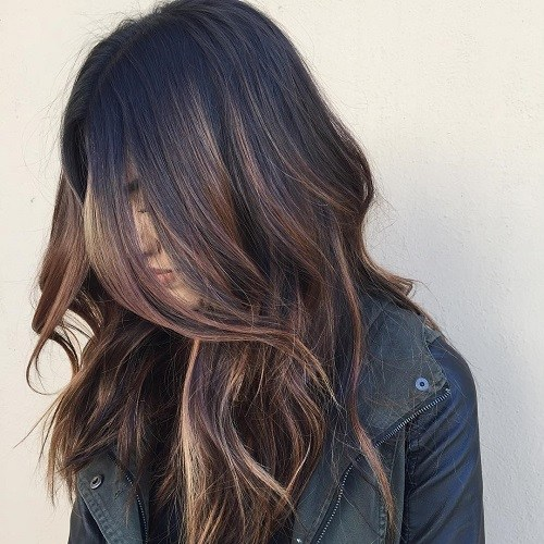 3 black hair with brown balayage highlights
