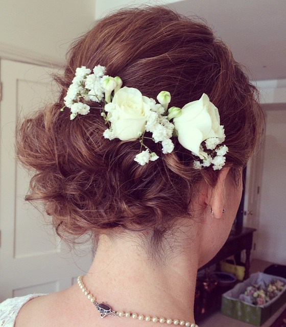 3 curly wedding updo for short hair