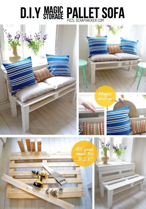 30 DIY Pallet Sofa with Storage