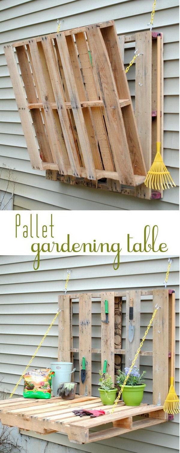 32 DIY Pallet Gardening Table
