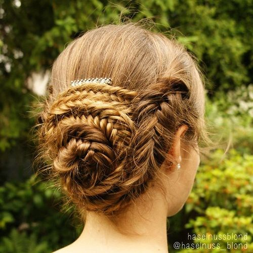 32 fishtail bun prom hairstyle