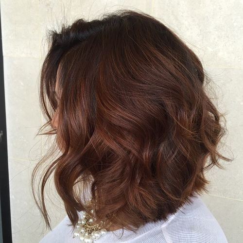 32 long wavy brown bob with balayage