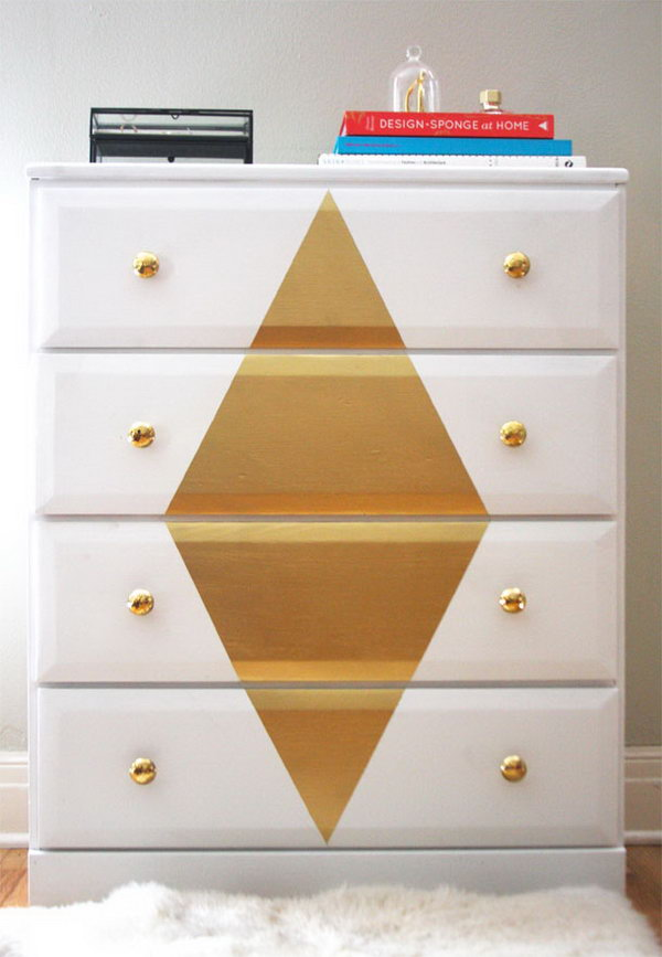 33 Refinishing a Dresser with White and Gold paint