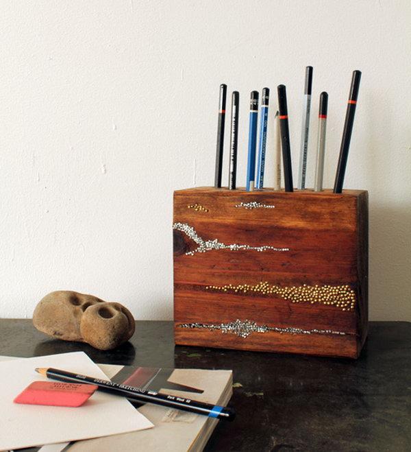 34 Embellished Wood Pencil Block