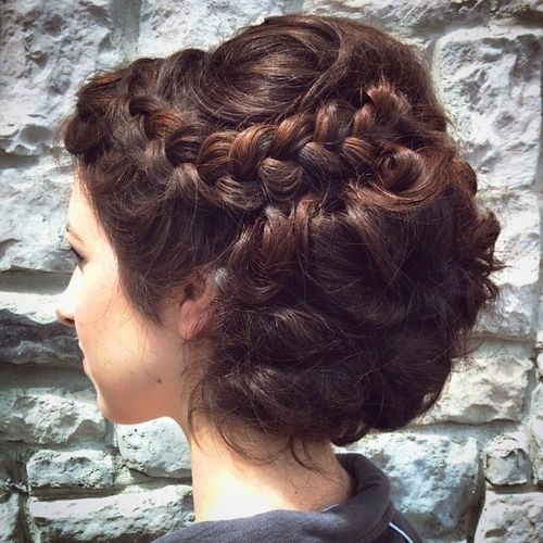 34 curled and twisted prom updo for long thick hair