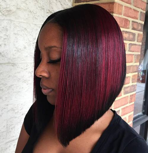 35 burgundy balayage bob for black women