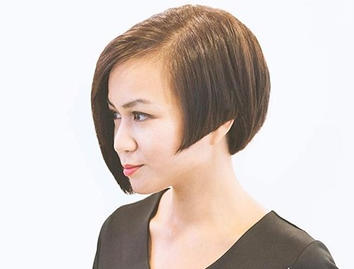35 chinlength asymmetrical angled bob