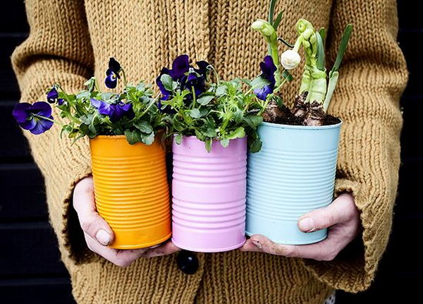 36 olorful Tin Can Planters for Spring