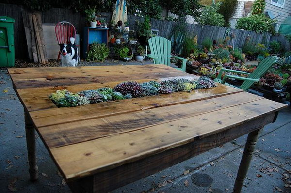 37  DIY Succulent Pallet Table