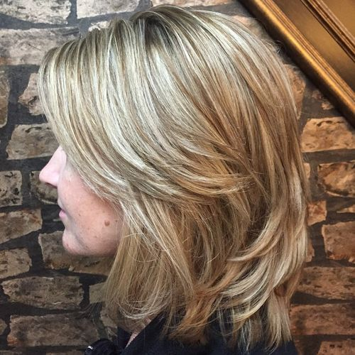 37 layered brown blonde hairstyle