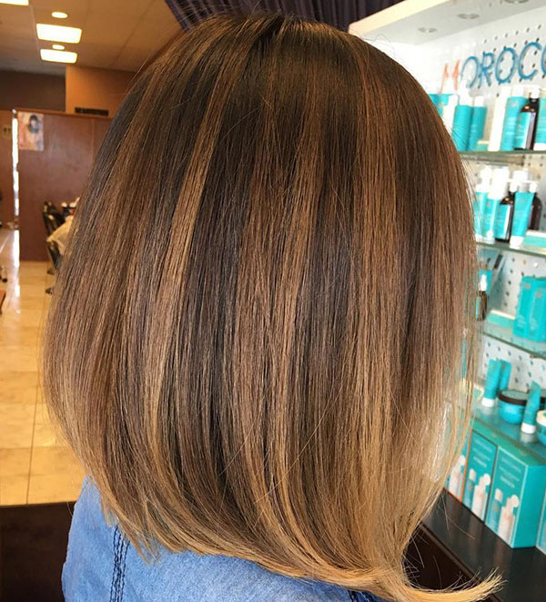 38 brown bob with subtle balayage highlights