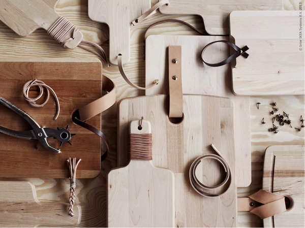 4 IKEA Hack for Cutting Board with Elegant Leather Accents