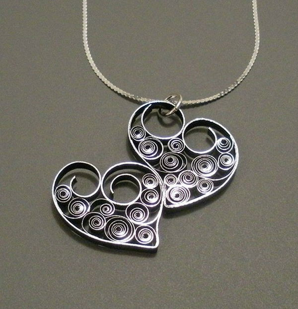 4 Quilled Heart Necklace