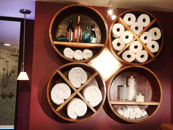 4 Wine Barrel Bathroom Storage