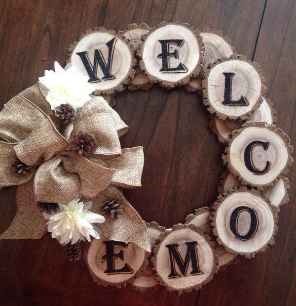 4 Wood Burned Welcome Tree Slice Wreath