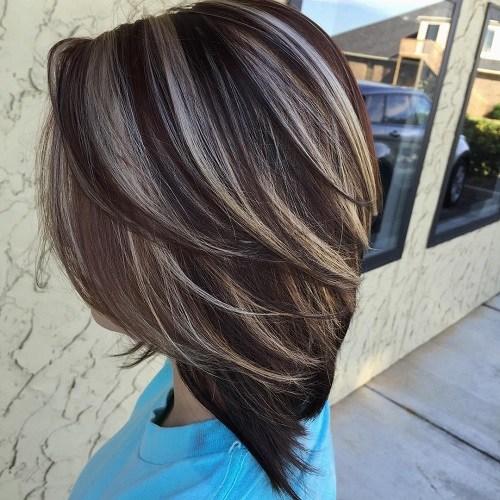 Мелирование серым цветом на темные волосы