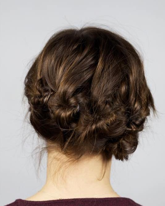 4 multi knots updo for shorter hair