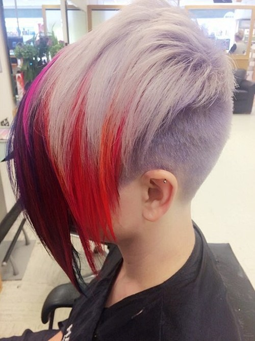 4 short pixie with extra long colorful bangs