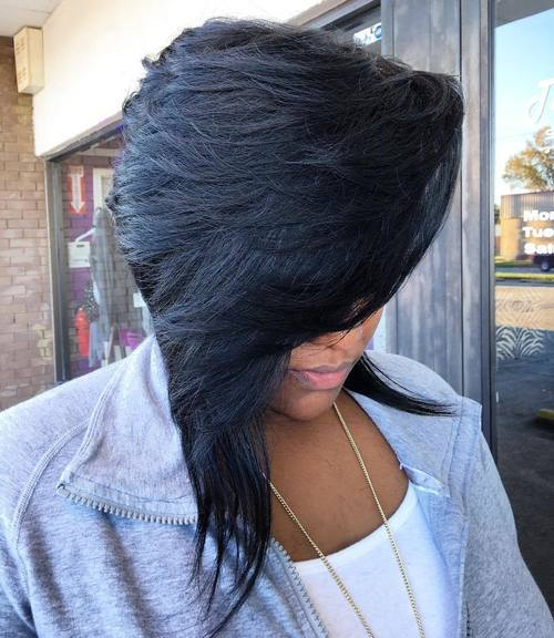 40 black asymmetrical layered bob