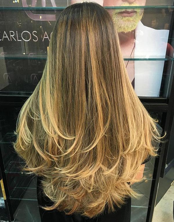 41 long layered hair with blonde balayage