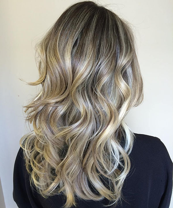 42 ash blonde hair with golden highlights