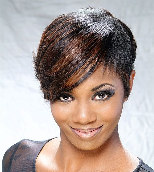 42 black short hairstyle with highlighted bang
